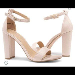 Nude suede heels